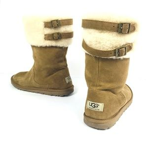 Ugg Buckled Boots Furry Hard Bottom Suede Size 6